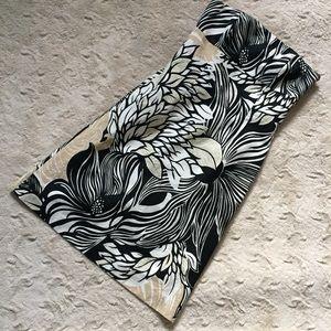 Ann Taylor 10 Strapless Black White Floral Dress
